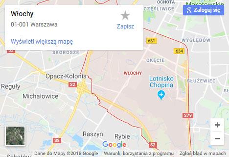 Mapa Google hydraulik Warszawa Włochy